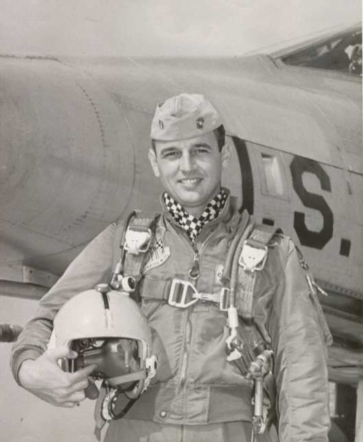 official USAF photo of my father back in the 1960s during the Cold War while he was doing a tour of exchange with the US Air Force, flying the F-100 Super Sabre