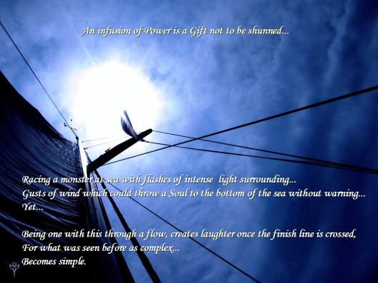 "Pic of the mast of the S/V Cuddy while sailing alone to Bermuda back in June 2011.  Words from ""Path of Three Hundred"", page 111 of the 2nd Edition.  Both by Greg Frucci."
